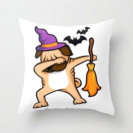 Dabbing Halloween Pug Dog Throw Pillow