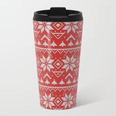 4 Knitted Christmas pattern in retro style pattern Metal Travel Mug