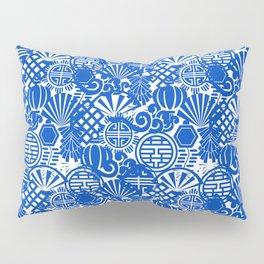 Chinese Symbols in Blue Porcelain Pillow Sham