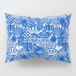 Chinese Symbols in Blue Porcelain Pillow Sham