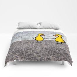 Lovebirds on the Beach Comforters