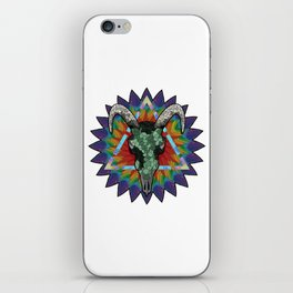 Skull of a bull on a colorful paint texture. Vector boho chic illustration for a poster, postcard, t iPhone Skin