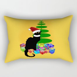 Christmas Le Chat Noir With Santa Hat Rectangular Pillow
