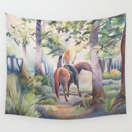 Quiet Woodland Horse Ride Wall Tapestry