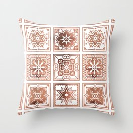 Talavera Mexican Tile – Rose Gold Palette Throw Pillow