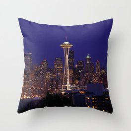 USA Photography - Seattle Space Needle In The Night Throw Pillow