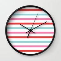 stripe Wall Clocks featuring Stripe by Andrew Jonathan Baker