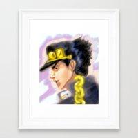 jjba Framed Art Prints featuring Jotaro Kujo JJBA by Pruoviare