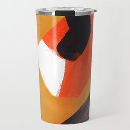 Minimalist Abstract Colorful Shapes Yellow Orange Black Mid Century Art Travel Mug