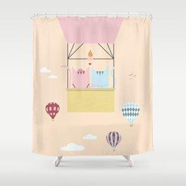 Traveling Tabbies: Hot Air Balloon Shower Curtain