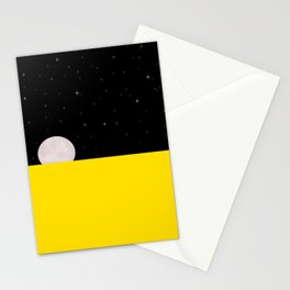 Black night with stars, moon, and yellow sea Stationery Cards