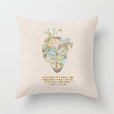 A Traveler's Heart + Quote Throw Pillow