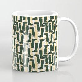 Hunter Green Wellington Welly Boots with Buttercup Flowers on Butter Yellow Streaky Stripes Coffee Mug