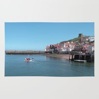 postcard Area & Throw Rugs featuring Whitby Postcard by Sarah Couzens