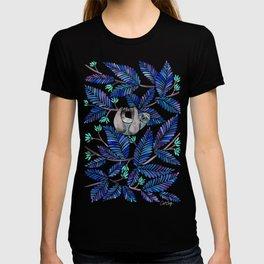 Happy Sloth – Tropical Blue Leaves T-shirt