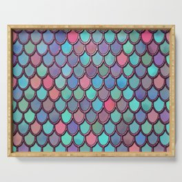 Colorful  Pink Glitter Watercolor Mermaid Scales Serving Tray