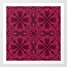Dotted Tile: Wine-berry  Art Print