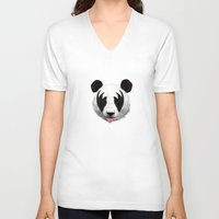 brazil V-neck T-shirts featuring Kiss of a panda by Robert Farkas
