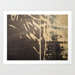 Ink drawing - edges of two abstract prints Art Print