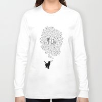 meow Long Sleeve T-shirts featuring MEOW by Charlene McCoy