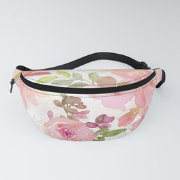 Scandi Peach Summer Hand Drawn Watercolor Flowers Meadow Fanny Pack