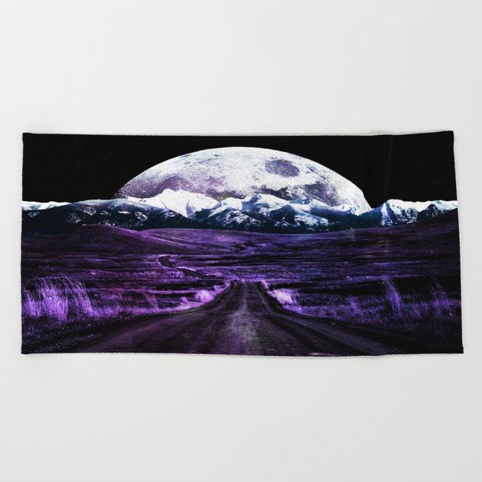 Highway to Eternity (moon mountain) violet Beach Towel