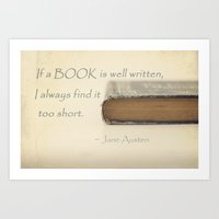 jane austen Art Prints featuring Jane Austen by Sparrow House Photography