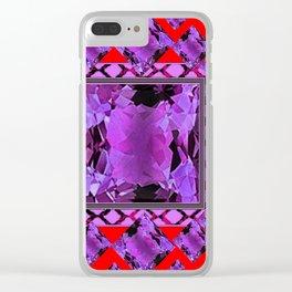RED PURPLE AMETHYST FEBRUARY GEM BIRTHSTONE MODERN ART Clear iPhone Case