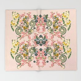 Where lizards live-Pink Throw Blanket