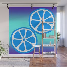Tropical exotic bright cobalt blue grapefruit citrus slices summer fruity colorful whimsical cute retro design. Wall Mural