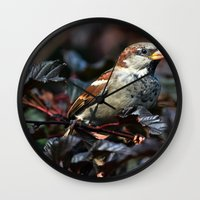 sparrow Wall Clocks featuring Sparrow by Elaine C Manley