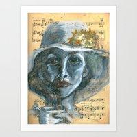 cafe Art Prints featuring Cafe by Spinning Daydreams
