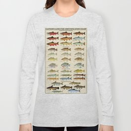 Illustrated Eastern Game Fish Identification Chart Long Sleeve T-shirt