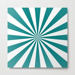 Starburst (Teal/White) Metal Print