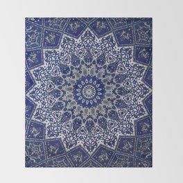 N33 - Blue Andalusian Bohemian Moroccan Mandala Artwork. Throw Blanket