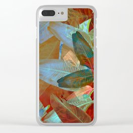 """Spring Tropical Pastel Leaves"" Clear iPhone Case"