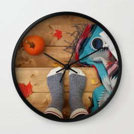 Her Autumn (Color) Wall Clock