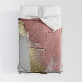 Darling: a minimal, abstract mixed-media piece in pink, white, and gold by Alyssa Hamilton Art Duvet Cover