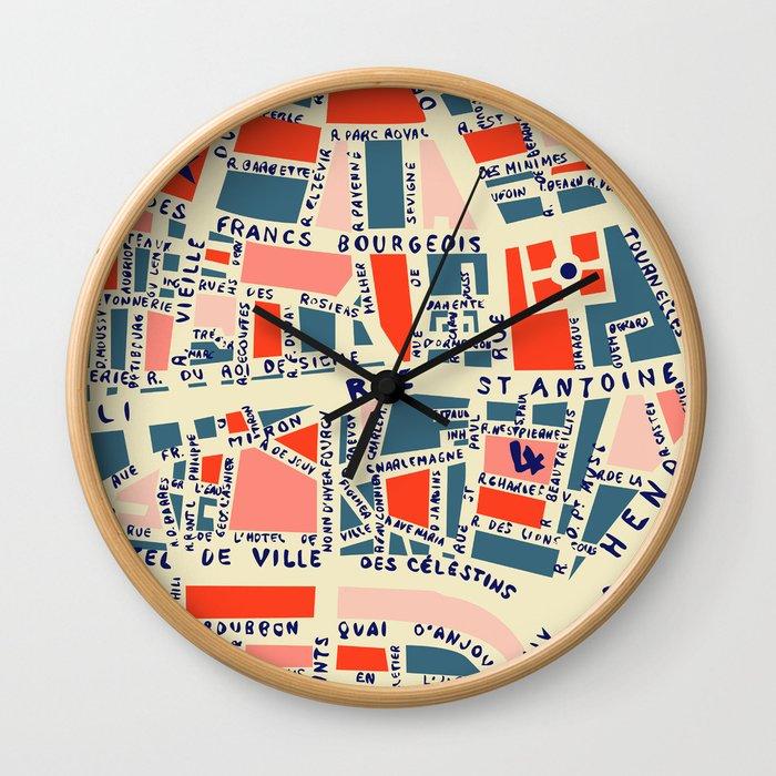 paris map blue Wall Clock