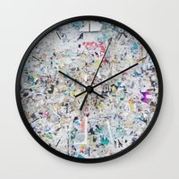 posters Wall Clocks featuring Old posters by katti