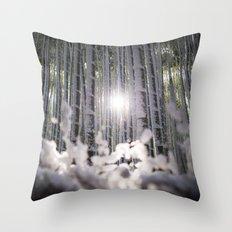 Arashiyama Bamboo in Winter Throw Pillow