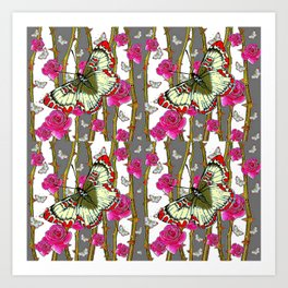 RED-YELLOW  ORIENTAL STYLE BUTTERFLIES & PINK ROSES GREY PATTERN DESIGN FROM SOCIETY6   BY SHARLESAR Art Print
