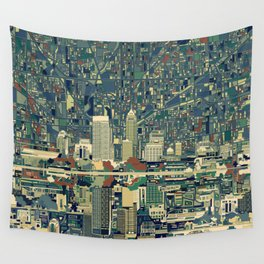 indianapolis city skyline green Wall Tapestry