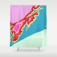 ariana grande Shower Curtains featuring Praia Grande by Jackie Wyant