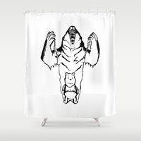 pooh Shower Curtains featuring Winnie the Pooh Inner Bear by Siriusreno