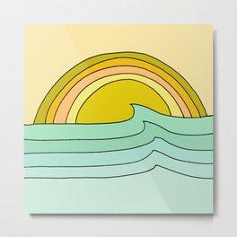 ride rainbows // retro surf soul // art by surfy birdy Metal Print