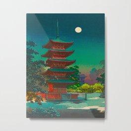 Tsuchiya Koitsu Vintage Japanese Woodblock Print Pagoda At Night Metal Print