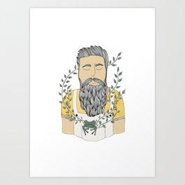 Man and frog.  Art Print
