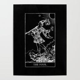 0. The Fool- White Line Tarot Poster