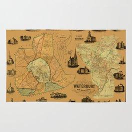 Map Of Waterbury 1852 Rug
